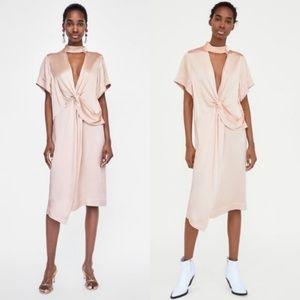 Zara Knotted V Neck Draped Biased Dress Slit
